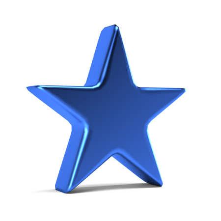 Blue Star Icon. 3D Gold Render Illustration Stock Photo
