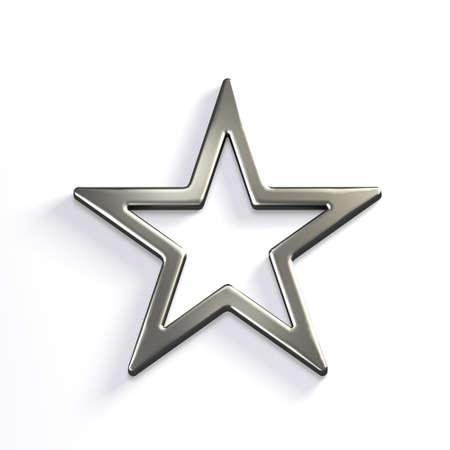 Silver Star Icon. 3D Render Illustration