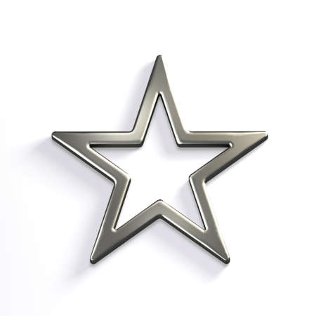 Silver Star Icon. 3D Render Illustration