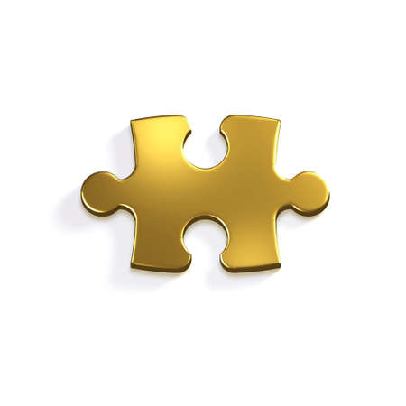 Gold Puzzle Piece of Jigsaw. 3D Render Illustration