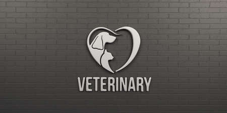 Veterinary Dog and Cat . Wall Design. 3D Render Illustration Reklamní fotografie