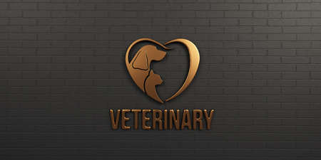 Veterinary Dog and Cat Bronze on Black Wall Design. 3D Render Illustration
