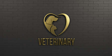 Veterinary Dog and Cat Gold on Black Wall Design. 3D Render Illustration