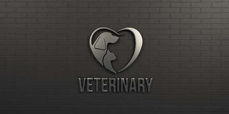 Veterinary Dog and Cat White on Black Wall Design. 3D Render Illustration