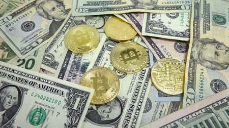 Bitcoin and Dollar Bills. Photo Image Composition Stock fotó