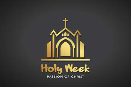 Holy Week gold Logo Template. Vector Graphic.