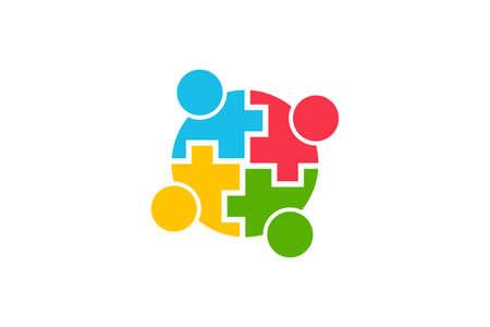 Teamwork Community People Logo. Vector Graphic Illustration