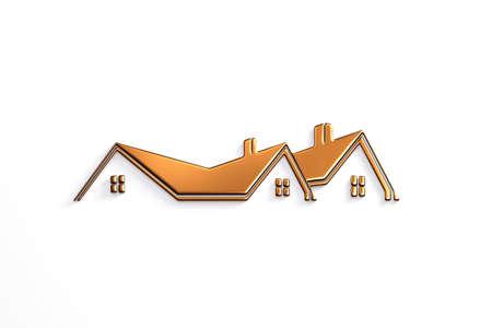 Real Estate Bronze Design. 3D Rendering Illustration