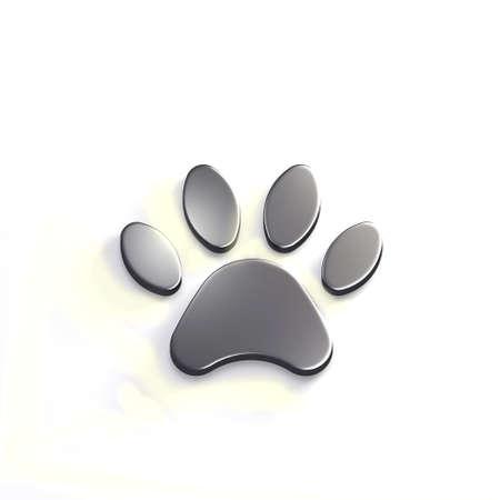 Paw Pet Silver Color. 3D Render Illustration