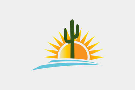 Sunny Desert scene with cactus and stone Vector illustration.