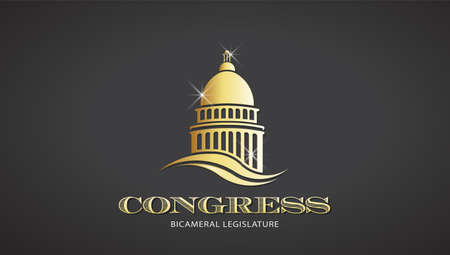 Congress Gold Capitol Icon. Vector Deisgn