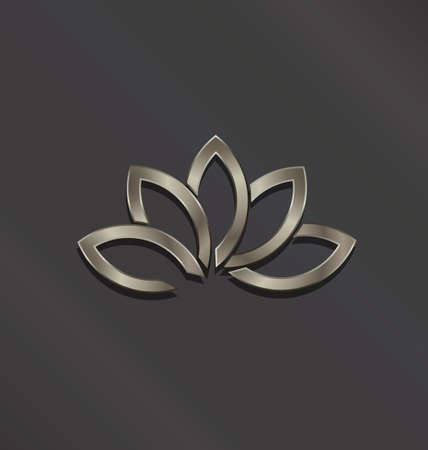 Five Leaves Abstract Lotus flower in black background