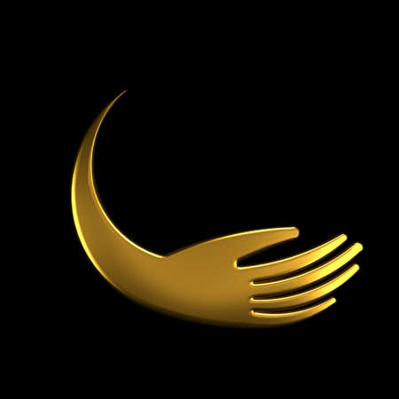 Hand Golden Symbol . 3D Render illustration