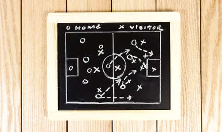 Soccer Game Strategy DRawing in Chalkboard.Photo image Stock fotó