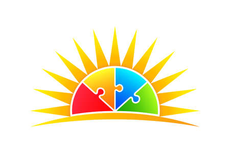 Sun in Puzzle Pieces. Vector Illustration