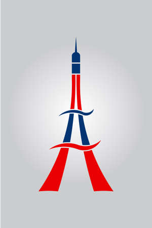 Red and Blue Abstract Lines and Swooshes Eiffel Tower