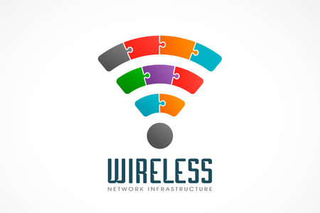 Wireless packets idea with data in form of puzzle pieces
