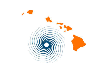 Hawaii Islands and Hurricane aproaching