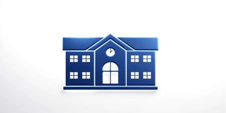 School Building facade. Educational Banner