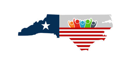 North Carolina people support flag. Vector illustration.