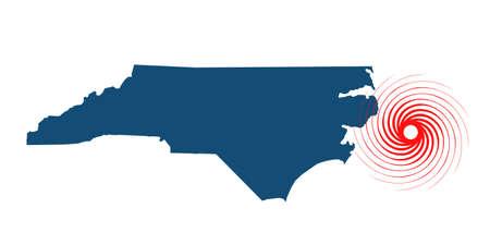 Hurricane on North Carolina Vector Illustration