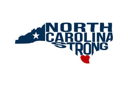 North Carolina Strong Map Logo Vector Illustration Ilustração