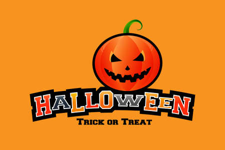 Pumpkin n halloween word in orange color