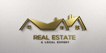 Real Estate Gold House on White Wall. 3D Render Illustration Stock Photo