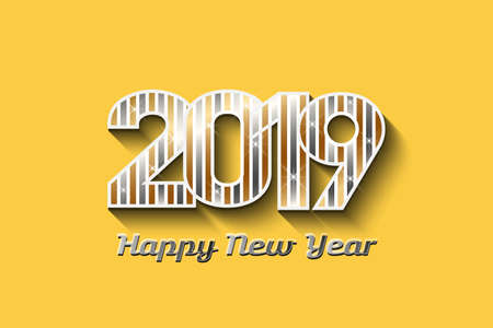 Concept of New Year in metal colors in yellow background Stock Photo