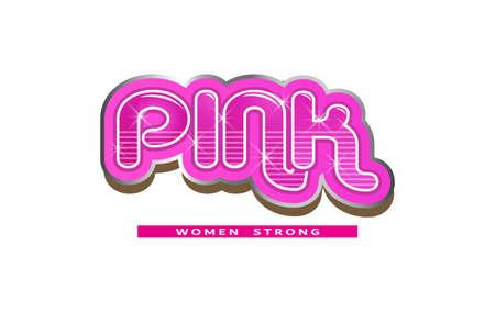 Pink Word - Women Strong - Vector Logo Logo