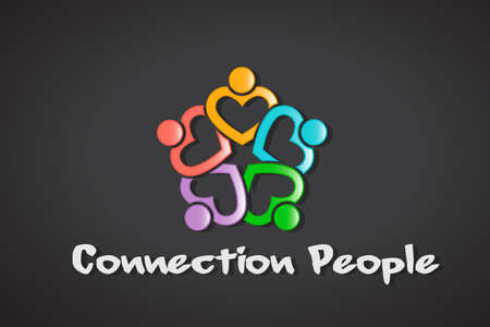 Connection Heart People emblem - Community Love