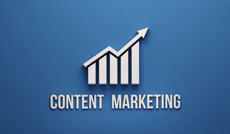 Content Marketing Growth Bar. 3D Render illustration Stock Photo