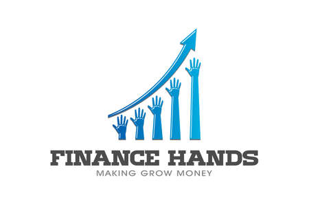 Rising Hands in Business Bar Profit Vector illustration