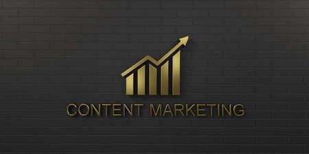 Content Marketing Gold Growth Bar. 3D Render illustration