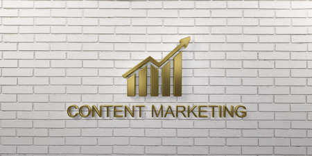 Content Marketing Gold Growth Bar on Wall. 3D Render illustration Stock Photo