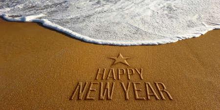 Happy New Year in Beach. Photo image