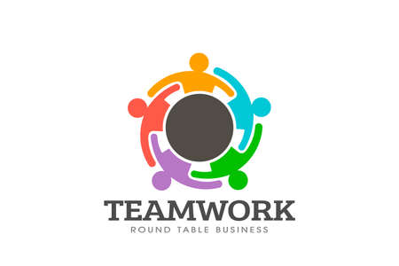 Teamwork round table logo vector