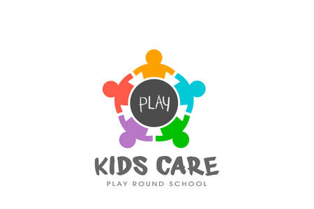 Kids Play Round table logo vector