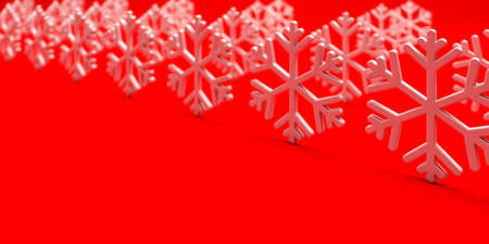 White Snowflakes Rows - 3D Render Illustration