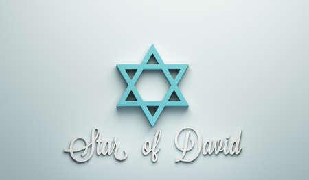 Star of David a Jews Symbol. 3D Render illustration