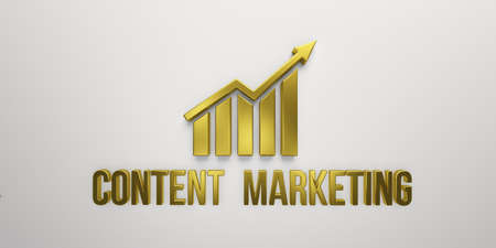 Content Marketing Gold Growth Bar on White Background. 3D Render illustration