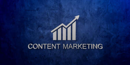Content Marketing banner in Blue grunge wall Stock Photo