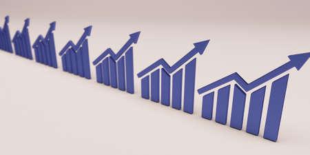 Finance Bar Growth Bar Group . 3D Render illustration Stock Photo