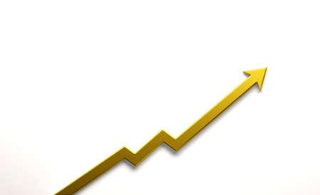 Gold Graph Arrow of Improvement. 3D Render Illustration. Reklamní fotografie
