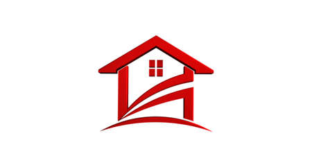 Red House icon. 3D Render Illustration