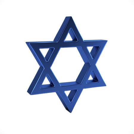 Símbolo judío de la estrella de David. Ilustración de render 3D