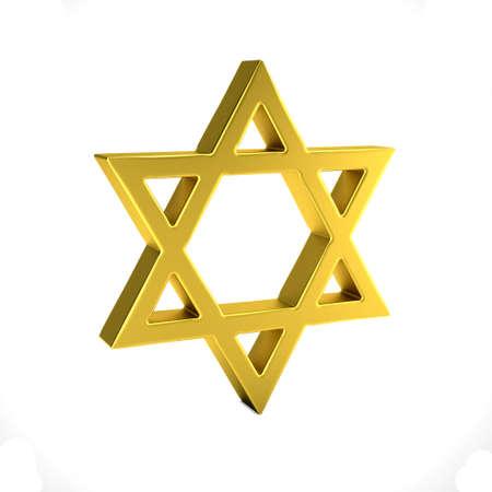 Star of David jewish symbol . 3D Render illustration