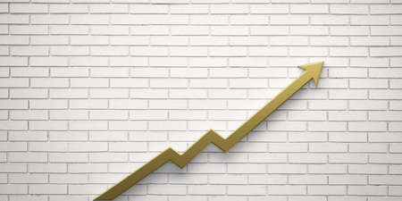 Gold Graph Arrow of Improvement Wall. 3D Render Illustration. Reklamní fotografie - 112551942