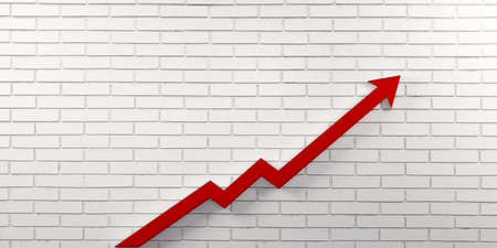 Red Graph Arrow of Improvement Wall. 3D Render Illustration. Stock Photo