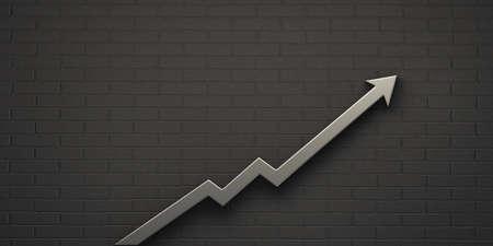 Platinum Graph Arrow of Improvement Wall. 3D Render Illustration.